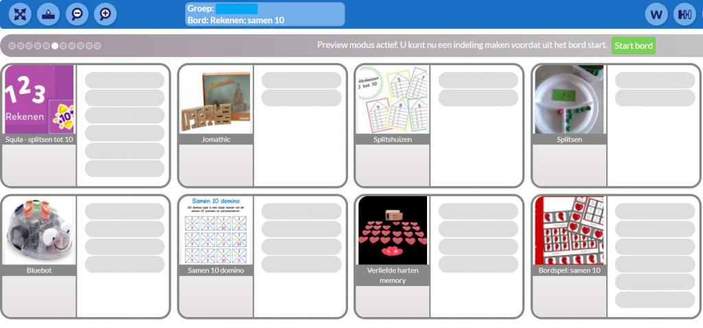 Keuzebord van het digikeuzebord: samen 10. Allerlei activiteiten en spelletjes die te maken hebben met samen 10.